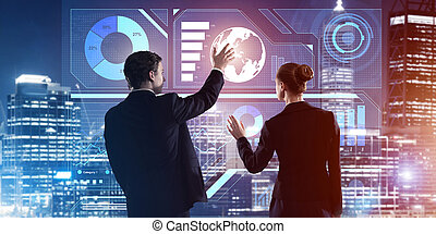 Concept of partnership and cooperation with people using virtual interface