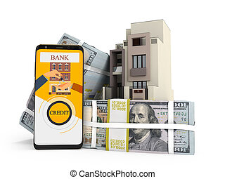 Concept of paying loan in dollars for house via smartphone 3d render on white background with shadow