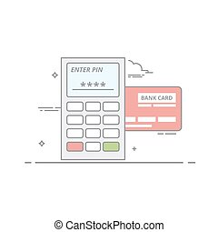 Concept of payment by credit card through the terminal. An electronic device with buttons and the screen for receiving payments. Request a PIN code. Vector isolated illustration in a linear style.