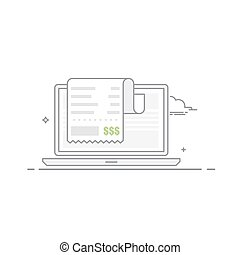 Concept of payment for goods or services via the Internet from a mobile device. Vector illustration made in a linear style isolated on white background.