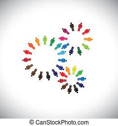 Concept of people as cogwheels representing communities &...