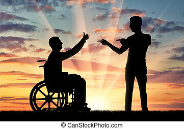 Concept of persons with disabilities in society - Happy...