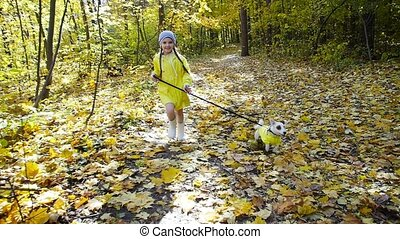 Concept of pets, family and friendship. Little girl with a dog running in the autumn park