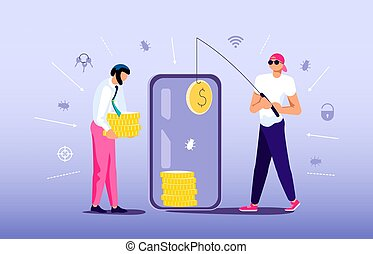 Concept of Phishing scam or cyber attack. Digital thief is fishing with unlocked smartphone and steals money from an electronic account. Flat Art Vector Illustration