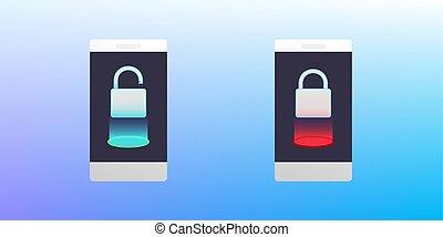 Concept of phone lock .Smartphone Locked and Unlocked. Vector Illustration