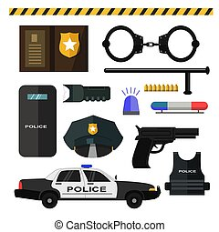 Concept of police equipment isolated on white