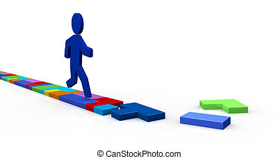 one interlocking game made with pieces of different shapes forming a street and a cartoon man that runs (3d render)