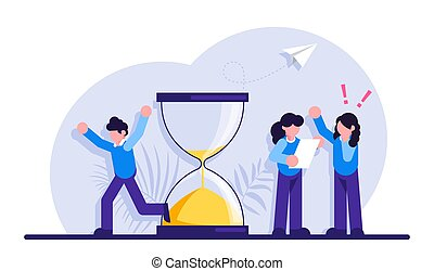 Concept of project deadline. Man running in panic and hourglass. Girls discuss the project. effective project time planning and management, procrastination and anxiety at work. Modern illustration