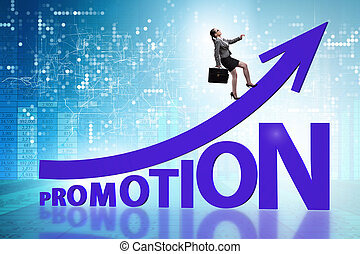 Concept of promotion with businesswoman