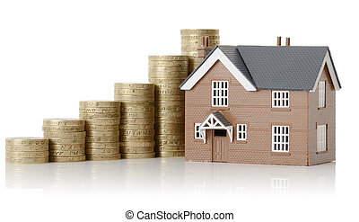 Concept of property value, house and coins isolated on a white background