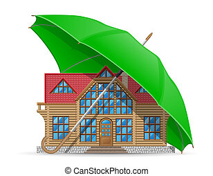 concept of protected and insured house accommodation umbrella illustration