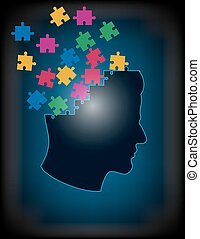 Concept of puzzle brain - Concept illustration puzzle brain...