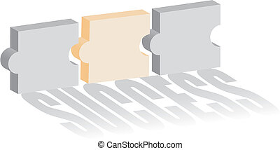 Concept of puzzle of success - Vector illustration