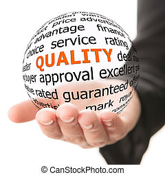 Concept of quality - Transparent ball with inscription ...