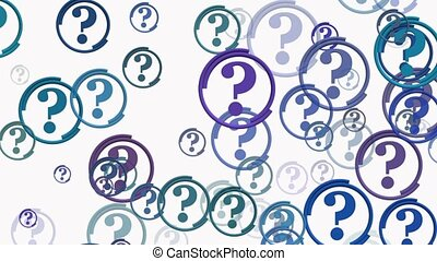 Concept of question marks in blue on white