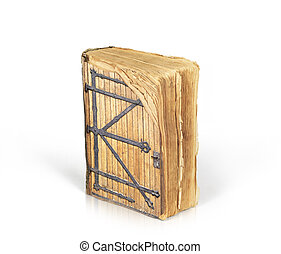 Ancient book with a door to the magical world of reading isolated