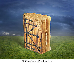 Ancient book with a door to the magical world of reading on grass