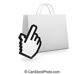 concept of real and online shopping
