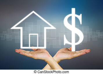 Concept of real estate business in dark background.