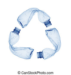 Concept of recycle - Empty used plastic bottle on white...