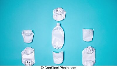 Concept of Recycling plastic and ecology. Stop motion animation, plastic bottles top view