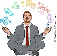 Concept of relax and work balance. - Businessman in nirvana....