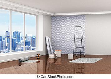 Concept of renovation. Big room with wooden floor, big...