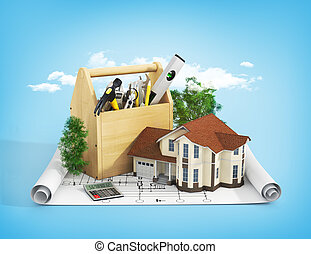 Concept of repair and building house. Repair and...