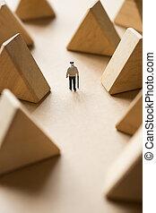 Concept of retirement life planing. Elder man walking along ...