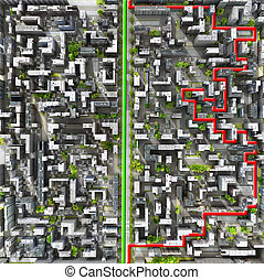 Concept of right way. Clear vision leadership solutions and success concept. Two ways through city in form of labyrinth. A maze of houses. 3d illustration