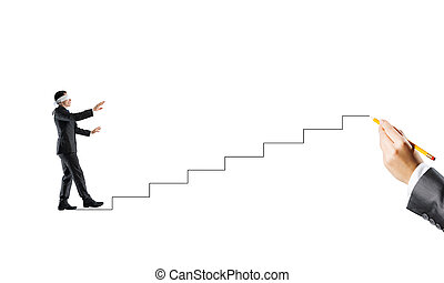 Concept of risk and difficulty with blind businessman steping carefully