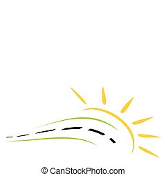 Concept of road symbol - Symbol of road with the sun in...
