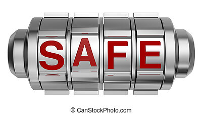concept of safe - one combination lock with the word: safe...