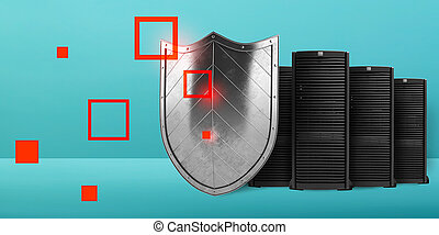 Concept of safety in a data center room with database server