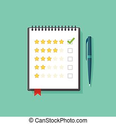 Concept of satisfaction feedback, customer reviews, rating testimonials