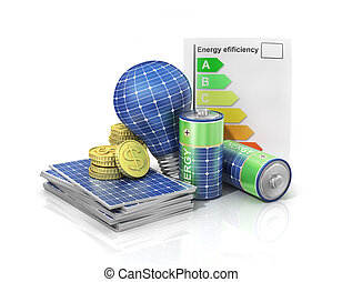 Concept of saving money if use solar energy. Solar battery ...