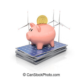 Concept of saving money if using solar energy. Solar panels and wind towers near moneybox in the form of pig.