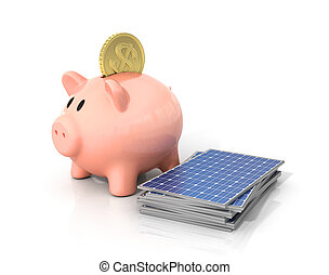 Concept of saving money if using solar energy. Solar panels near moneybox in the form of pig.