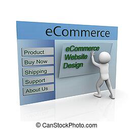 Concept of secure ecommerce web design - 3d man building...