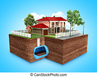 concept of Sewerage in a private house 3d render on blue