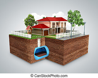 concept of Sewerage in a private house 3d render on grey