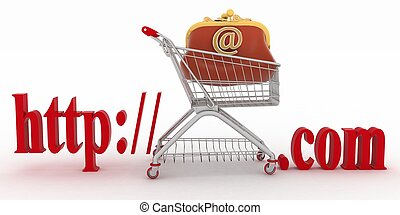 Concept of shopping on the web sites of commercial. 3d...