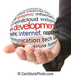 Concept of social development - Transparent ball with ...
