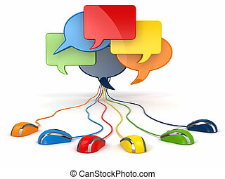 Concept of social network. Forum or chat bubble speech.