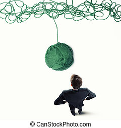 Concept of solution and innovation with wool ball - Concept...