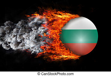 Flag with a trail of fire and smoke - Bulgaria