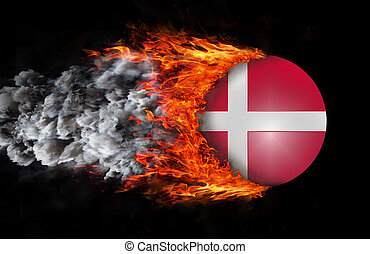 Flag with a trail of fire and smoke - Denmark