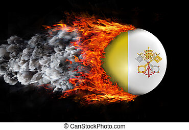 Flag with a trail of fire and smoke - Vatican City