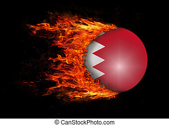 Flag with a trail of fire - Bahrain