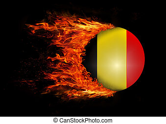 Flag with a trail of fire - Belgium